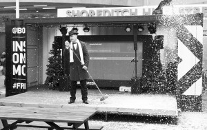 singing in fake snow